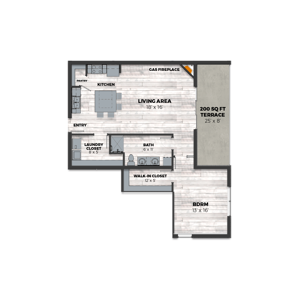 Daybreak Floor Plan Layout, Oasis Building at THE CURRENT of the Fox - Kimberly